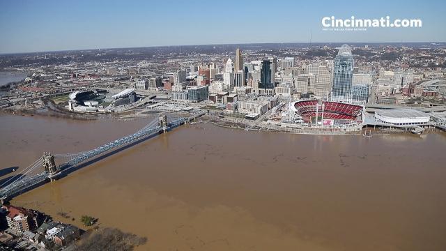 Aerial footage of Cincinnati-area flooding