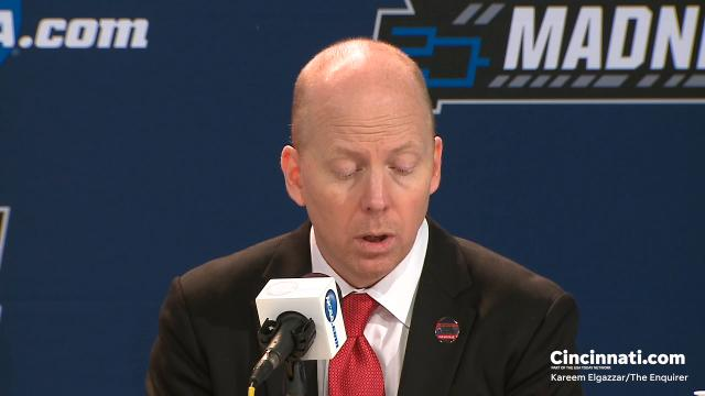 Cincinnati Bearcats head coach Mick Cronin addresses the media following the 68-53 win against Georgia State in the first round of the NCAA Tournament in Nashville.