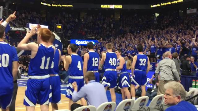 Covington Catholic wins 2018 state championship in basketball, 73-55 over Scott County.