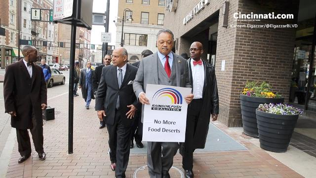 On a visit to Cincinnati Tuesday, the Rev. Jesse Jackson explained why he's calling for a boycott of Kroger Co. stores.