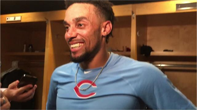 Billy Hamilton talks about his highlight catch, 3 hits in win