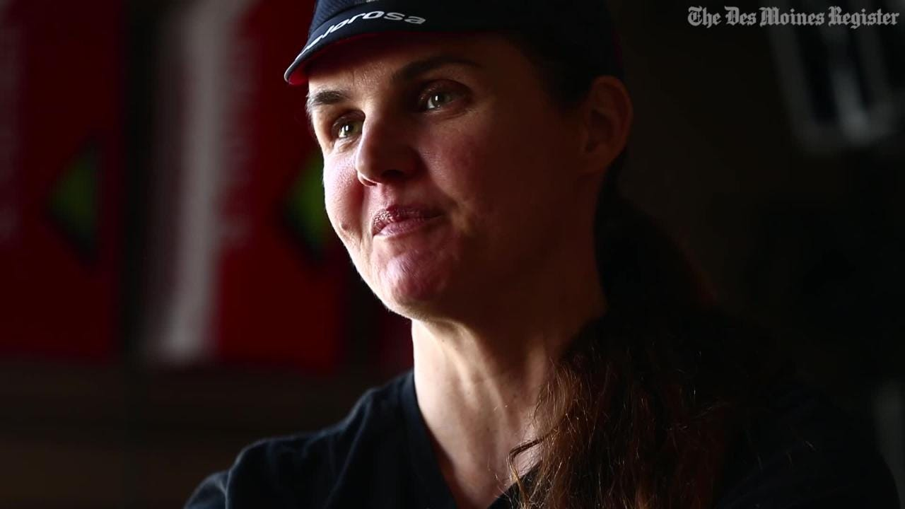 Urbandale's Sarah Cooper rode her bike over 3,000 miles in the Race Across America crossing the finish line as the first female rider early Sunday morning.