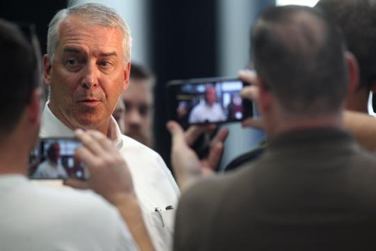 The Iowa athletics director stands by his decisions that led to the dismissals of Jane Meyer and Tracey Griesbaum.