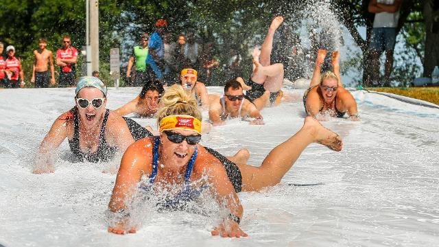 RAGBRAI Day 1: Riders slip and slide