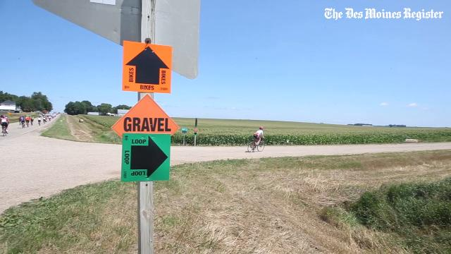 As thousands made their way past the turnoff for the optional gravel loop, some adventurous riders made the exit onto gravel for a 19-mile addition to Sunday's ride during RAGBRAI