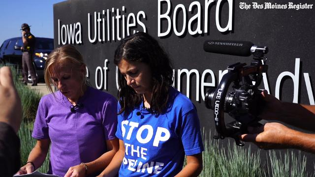 Jessica Reznicek (purple shirt) and Ruby Montoya (blue shirt) claim responsibly for Dakota Access equipment vandalism on February 1st.