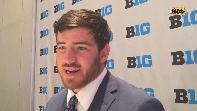 The Iowa linebacker was at his second straight media days.