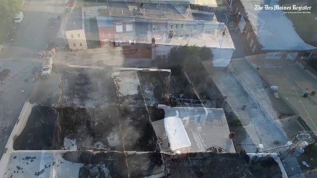 Aerial footage of the Exira blaze that claimed four buildings