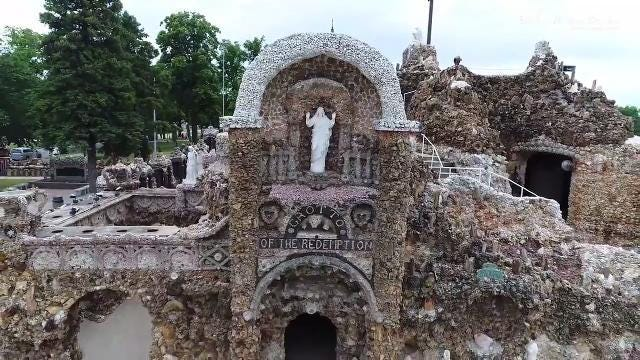 Get a birds-eye video of the Grotto of the Redemption in West Bend, Iowa. The largest man-made Grotto in the world, the Grotto contains the largest collection of precious stones and gems found anywhere in one location.