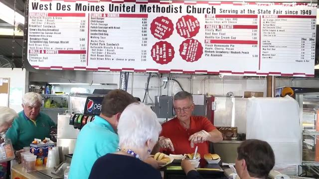 Take a look as members of the West Des Moines United Methodist Church run through a soft opening of their food booth ahead of the Iowa State Fair.