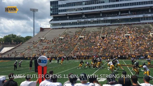 James Butler opens 11-on-11 with strong run at Iowa's Kids Day open practice