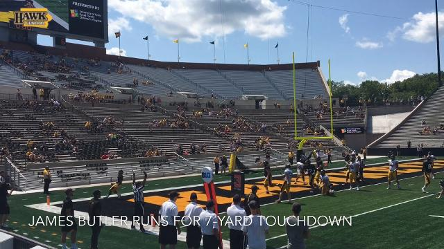 James Butler runs for 7-yard touchdown at Iowa's Kids Day open practice