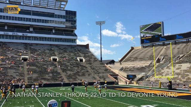 Nathan Stanley throws 22-yard TD to Devonte Young at Iowa's Kids Day open practice