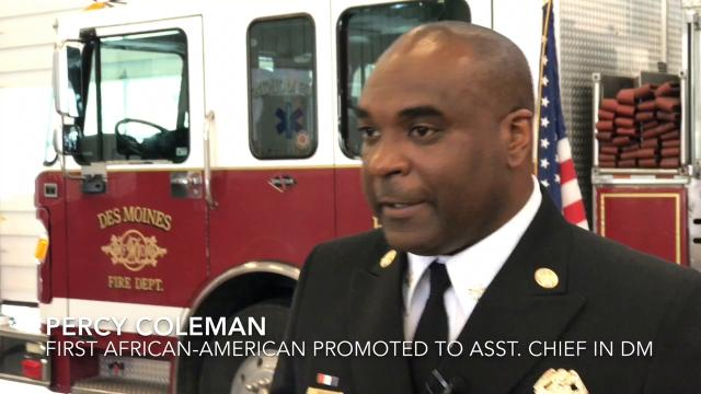 The Des Moines Fire department promoted its first female district chief officer and its first African-American assistant fire chief.