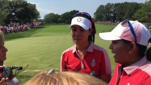 Danielle Kang and Lizette Salas were excited to earn the first full point for the United States at the Solheim Cup.