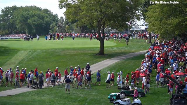 The 2017 Solheim Cup began with fans and the Foursomes matches at the Des Moines Golf and Country Club in West Des Moines.