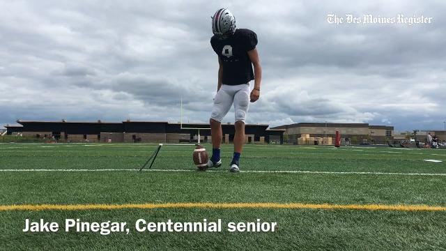 Ankeny Centennial place-kicker Jake Pinegar made two long field goals in the Jaguars' loss to Johnston.