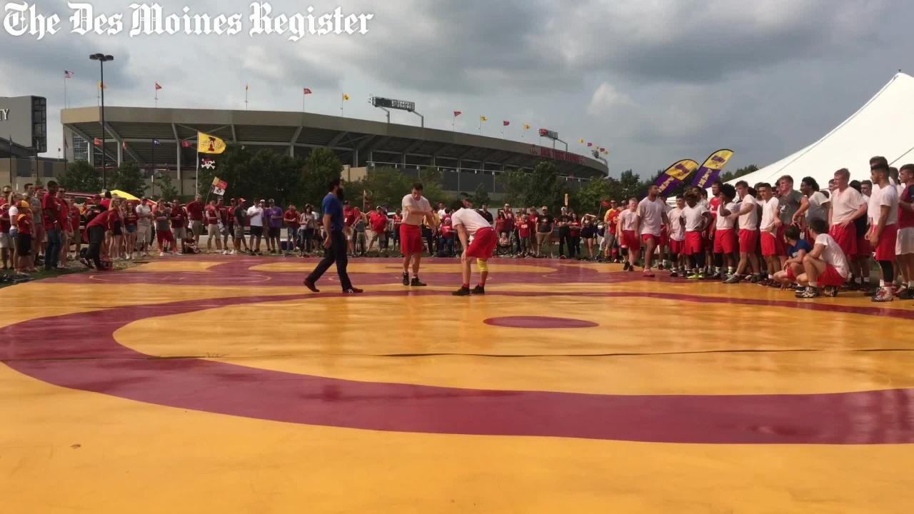 WATCH Iowa State wrestling holds practice in football tailgate parking lot & WATCH: Iowa State wrestling holds outdoor practice ahead of ...