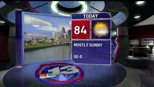 Monday will be 84 degrees and sunny, with conditions across the state. The next good chance we'll have for rain is Saturday.