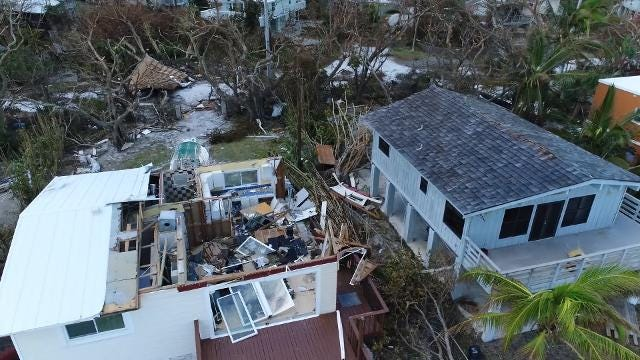 Drone video reveals some of the hardest hit areas in the Florida Keys