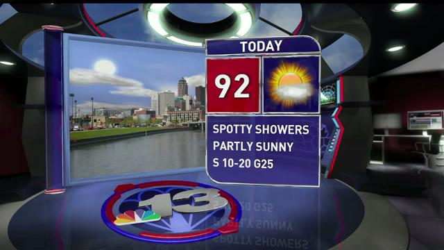 Friday is going to be sunny and hot with a high of 92 degrees. We should see some rain on Saturday and more on Monday.