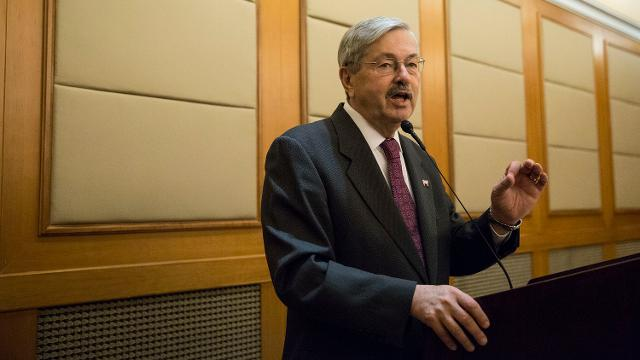 US Ambassador to China, Terry Branstad talks about the changes he's observed in Beijing since his first trip in 1984, during an Iowa Sister States reception on Wednesday, Sept. 20, 2017, in Beijing.