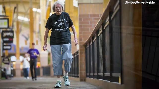 Frances Clayton celebrated her 100th birthday by walking the mall