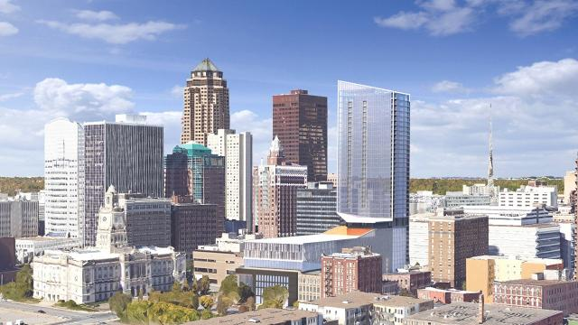 A planned tower along Fifth Avenue between Walnut Street and Court Avenue has grown from 32 to 39 floors. The project's estimated cost has reached $170 million.