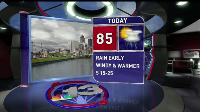 Monday will be cloudy and wet to start, with wamer temperatures and wind moving in this afternoon.
