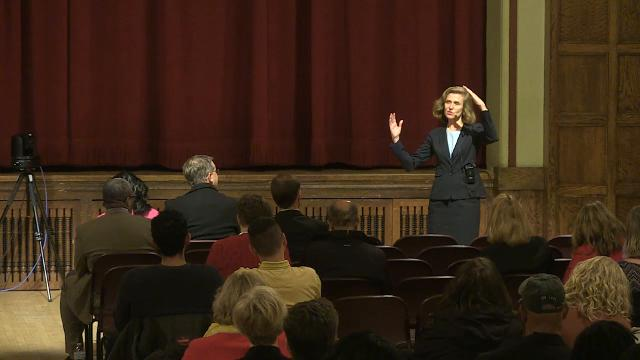 Pamela Whitten, one of four finalists in Iowa State University's search for a new president, pitches her leadership plan during an open forum on campus in Ames.