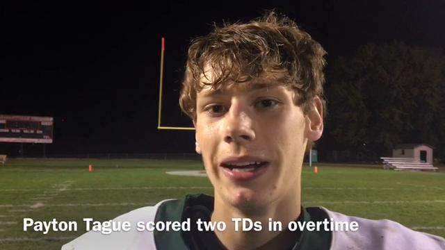 Woodward-Granger's Payton Tague ran for two overtime touchdowns and the Hawks topped No. 9 Pleasantville.