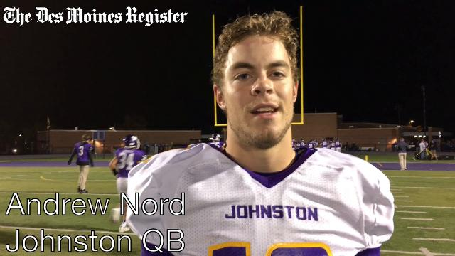 Johnston quarterback Andrew Nord discusses the team's performance on Friday.