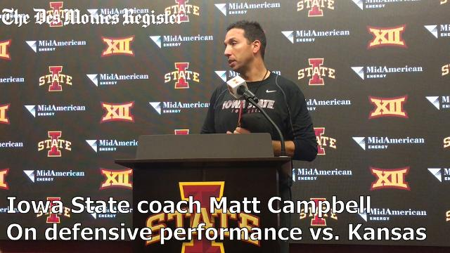 Head coach Matt Campbell talks about the defense's performance in the Cyclones' 45-0 win over Kansas.