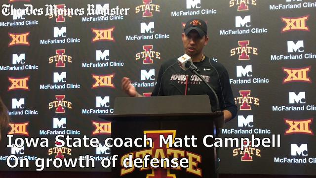 Iowa State head coach Matt Campbell talks about the Cyclones' defensive strides after a 45-0 win over Kansas.