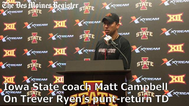 Coach Matt Campbell talks about Trever Ryen's punt-return touchdown in Iowa State's 45-0 win over Kansas.
