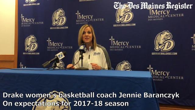 The Drake head women's basketball coach discusses her team's expectations during the team's media day on Monday.