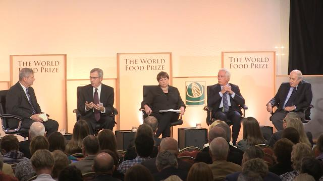 Former U.S. Secretaries of Agriculture discuss if food restriction, nutritional education or a combination of the two are needed for people on the SNAP program during the World Food Prize's Iowa Hunger Summit in Des Moines.