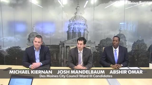 Des Moines City Council candidates Michael Kiernan (from left), Josh Mandelbaum and Abshir Omar meet with The Des Moines Register editorial board Tuesday, Oct. 17, 2017, in Des Moines.