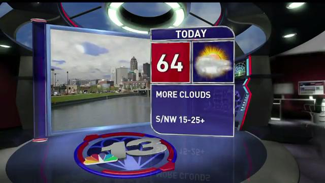 Thursday will be 64 and partly cloudy. Temps drop into the low 40s Friday and Saturday, when there's a chance for light snow.