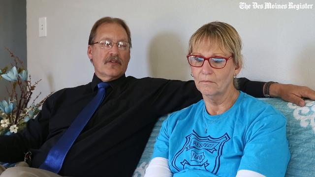 In a neighborhood surrounded by blue, Randy and Jayne Martin recently sat side-by-side on their couch in their home in Rockwell City. Their son Justin Martin was one of the victims of the ambush in November 2016.