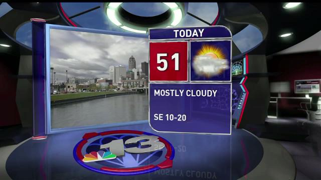 Wednesday will be breezy again with cloudy skies a high of 51 degrees.