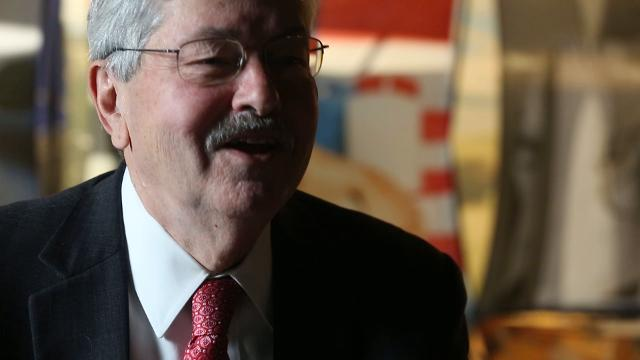 U.S. Ambassador to China Terry Branstad shares his best Mandarin, the Chinese words for hello and thank you, during an interview in Beijing, on Tuesday, Sept. 26, 2017.