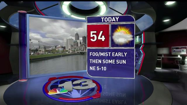 Thursday is getting off to a foggy and misty start in some areas of Iowa, with spotty rain showers moving across the state. Expect a high of 54.
