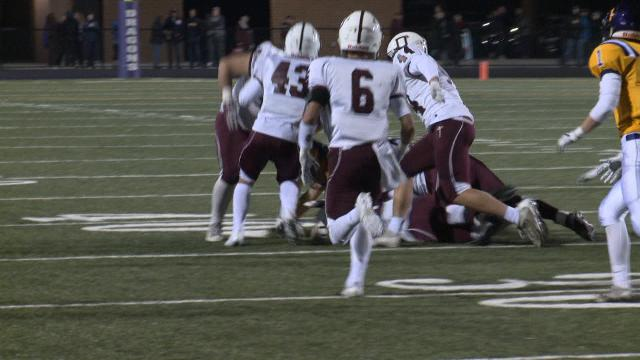 Dowling Catholic was held to a season-low 13 points, but survived to continue its pursuit of a fifth consecutive state football championship Friday.