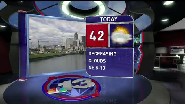 Tuesday will be mostly cloudy and chilly, with a high of 42. It'll drop into the 20s overnight.