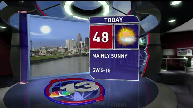 Wednesday will see sunny skies and warmer temperatures, with a high near 50.