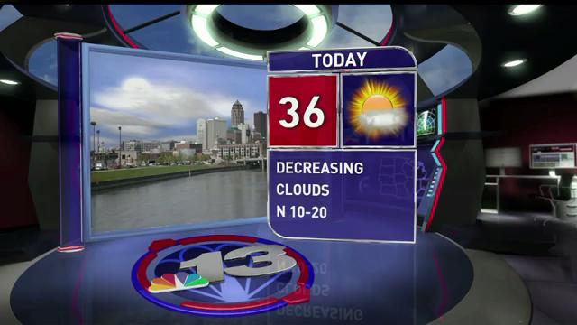 Thursday will be cold with a high of 36, close to 20 degrees below the average for this time of year.