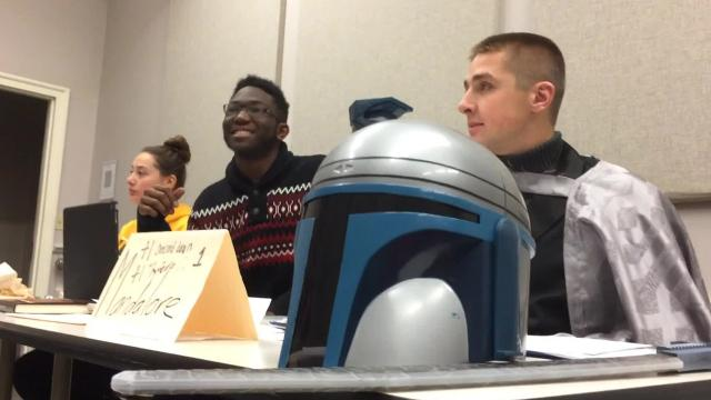 A new class at Simpson College in Indianola, Ia., has students portray alien senators as they wrangle with such difficult issues as whether droids should be given civil rights.