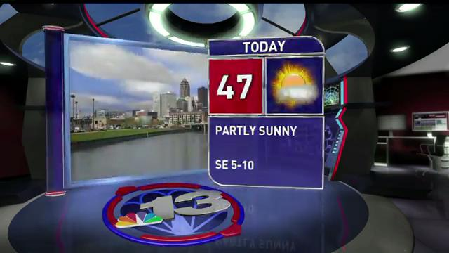 Thursday will start chilly but climb to 47 degrees in the afternoon. It'll be 56 Friday with a chance for some showers.