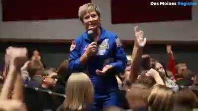 NASA astronaut and 1978 Mount Ayr graduate Peggy Whitson answered questions from Mount Ayr students during a visit to her hometown.